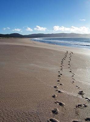 Art Print featuring the photograph Footsteps In The Sand by Peter Mooyman
