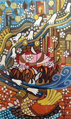 Painting - Footsteps To Peace Colorful Abstract Symbolism With Urban Cityscape Path Tracks Bird Dove by Rachel Hershkovitz