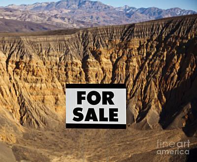 For Sale Sign In Desert Landscape Art Print by David Buffington