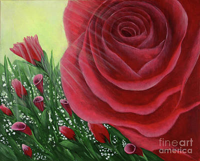 Art Print featuring the painting For The Love Of Roses by Kristi Roberts