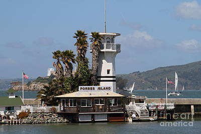 Alcatraz Photograph - Forbes Island Restaurant With Alcatraz Island In The Background . San Francisco California . 7d14258 by Wingsdomain Art and Photography