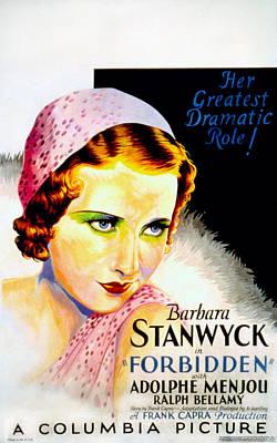 Films By Frank Capra Photograph - Forbidden, Barbara Stanwyck, 1932 by Everett