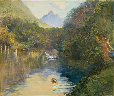 Skinny Dipping Painting - Ford At The Upper End Of The Vai-te-piha by John LaFarge