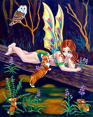 Forest Fae Guardian Welsh Corgi Pembroke Art Print by Lyn Cook