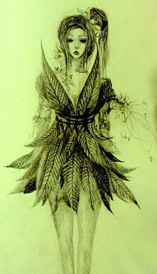 Native Plants Drawing - Forest Fairy by Melissa Cabigao