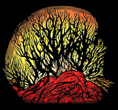 Forest Fire, Lino Print Art Print by Gary Hincks