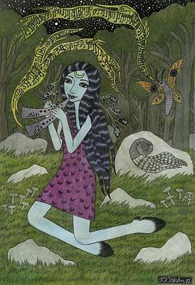 Fluted Mixed Media - Forest Girl With Flute by Bethy Williams