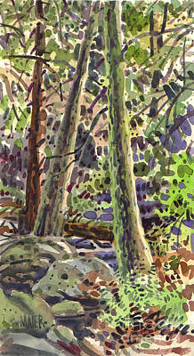 Ferns Painting - Forest Green by Donald Maier