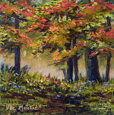 Painting - Forest In Syle Of Maxfield Parrish With Gold Leaf By Vic Mastis by Vic  Mastis