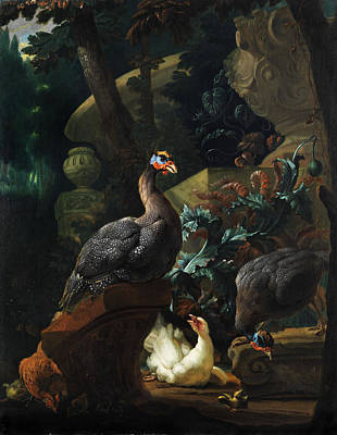 Guinea Wall Art - Painting - Park Landscape With Guinea Fowl, Chicken And Chicks by Abraham Bisschop