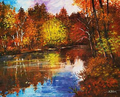Art Print featuring the painting Forest Reflectons by Al Brown
