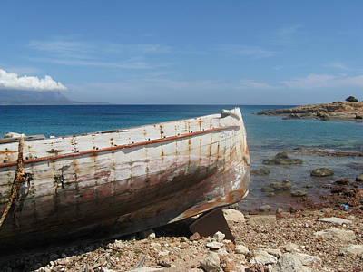 Hydra Island Photograph - Forgotten Boat In Greece by Daniel  Taylor