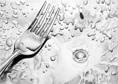 Drawing - Fork And Drops by Eleonora Perlic