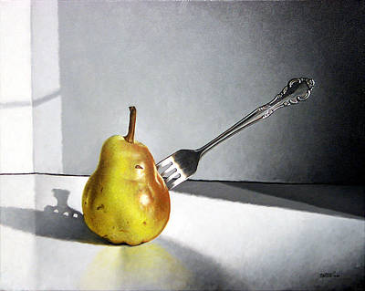 Painting - Fork And Pear by Matthew Martelli