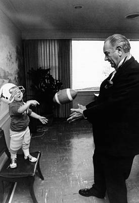 Former President Lyndon Johnson Plays Art Print by Everett