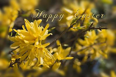 Forsythia Happy Easter Card  Original