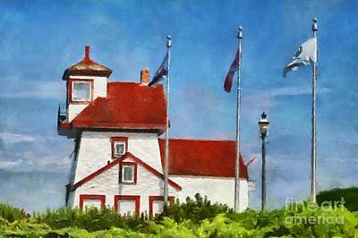 Digital Art - Fort Point Lighthouse In Liverpool Nova Scotia Canada by Mary Warner