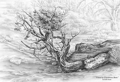 Drawing - Found By Courthouse Butte - Black And White Print by Kelli Swan
