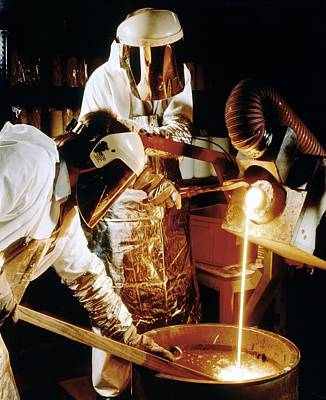 Foundry Workers Pouring Molten Metal Into An Ingot Print by Tek Image