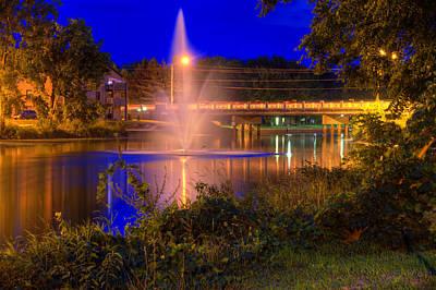 Fountain And Bridge At Night Art Print