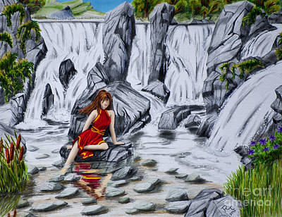Pencil Drawing Waterfall Drawing - Fountain Of Youth by Robert Thornton