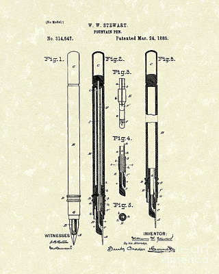 Pen Drawing - Fountain Pen 1885 Patent Art by Prior Art Design