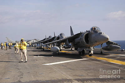 Av-8b Photograph - Four Av-8b Harrier Jets Line by Stocktrek Images