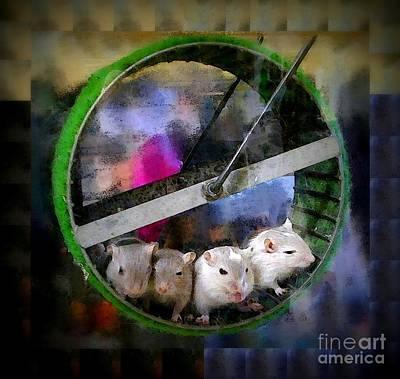 Gerbil Digital Art - Four Baby Gerbils On Wheel by Renee Trenholm