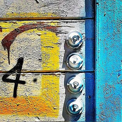 Blue Photograph - Four Doorbells by Julie Gebhardt