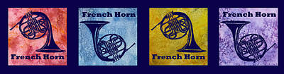 Band Digital Art - Four French Horns by Jenny Armitage
