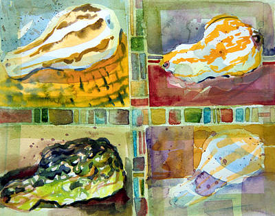 Four Gourds Art Print by Mindy Newman