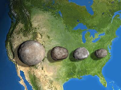 Four Largest Asteroids, Scale Artwork Print by Chris Butler