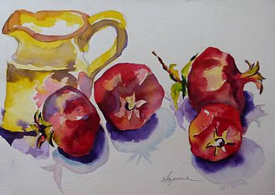 Four Pomegranates Art Print by Suzanne Willis