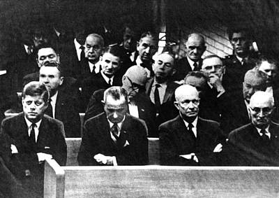 Lyndon Photograph - Four Presidents At Speaker by Everett