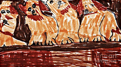 Four Puppies In A Row Print by Stephanie Ward