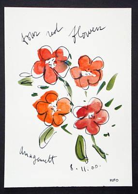Amagansett Painting - Four Red Flowers Amagansett by David Rufo