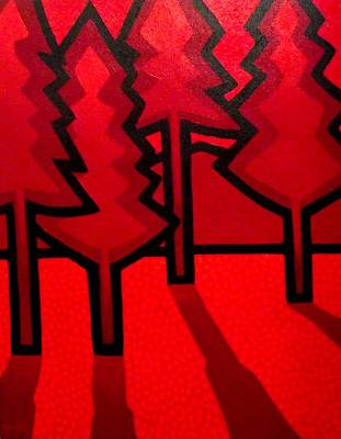 Four Red Pines Original by John  Nolan