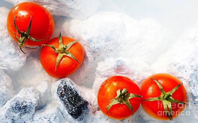 Four Red Tomatos  Art Print by Agusta Gudrun Olafsdottir