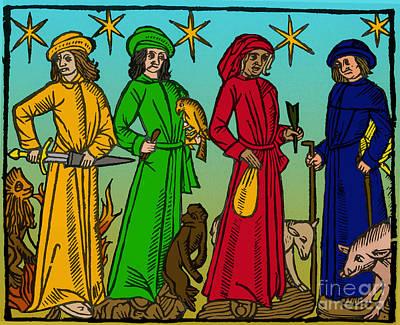 Four Temperaments, Medieval Woodcut Art Print