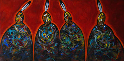 Painting - Four With A Feather Red by Lance Headlee