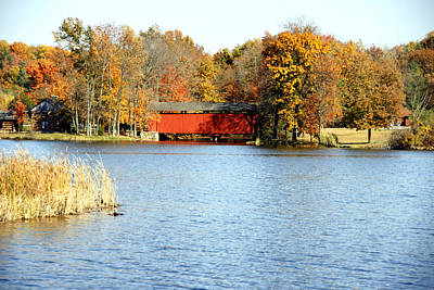 Fowler Lake And Covered Bridge Art Print by Franklin Conour