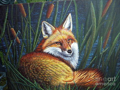 Painting - Fox In Cat Tails by Terri Maddin-Miller