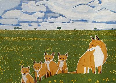Foxes In The Countryside Art Print by Eamon Reilly