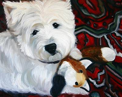 Westie Painting - Foxy Lady by Mary Sparrow