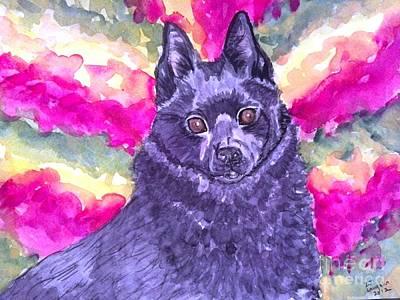 Schipperke Mixed Media - Foxy Roxy by DJ Laughlin