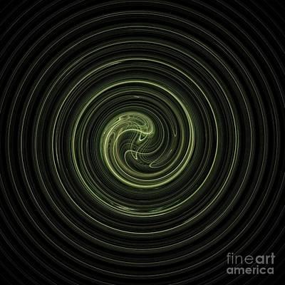 Green Surreal Geometry Digital Art - Fractal Green Spiral by Henrik Lehnerer