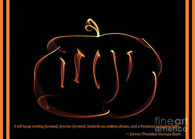 George Bush Digital Art - Fractal Pumpkin With Quote by Renee Trenholm