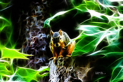 Digital Art - Fractal - Sitting On A Stump - Robbie The Squirrel - 2831 by James Ahn