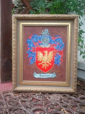 Coat Of Arms Painting - Framed Graves Crest by Nancy Rutland