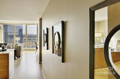 Upscale Photograph - Framed Mirrors On Wall Of Upscale Home Interior by Andersen Ross